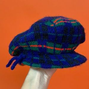 Mod 60s 70s plaid knit beret winter hat Small